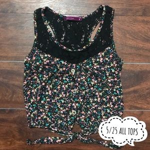 Cropped Floral Tie-Front Tank Size S